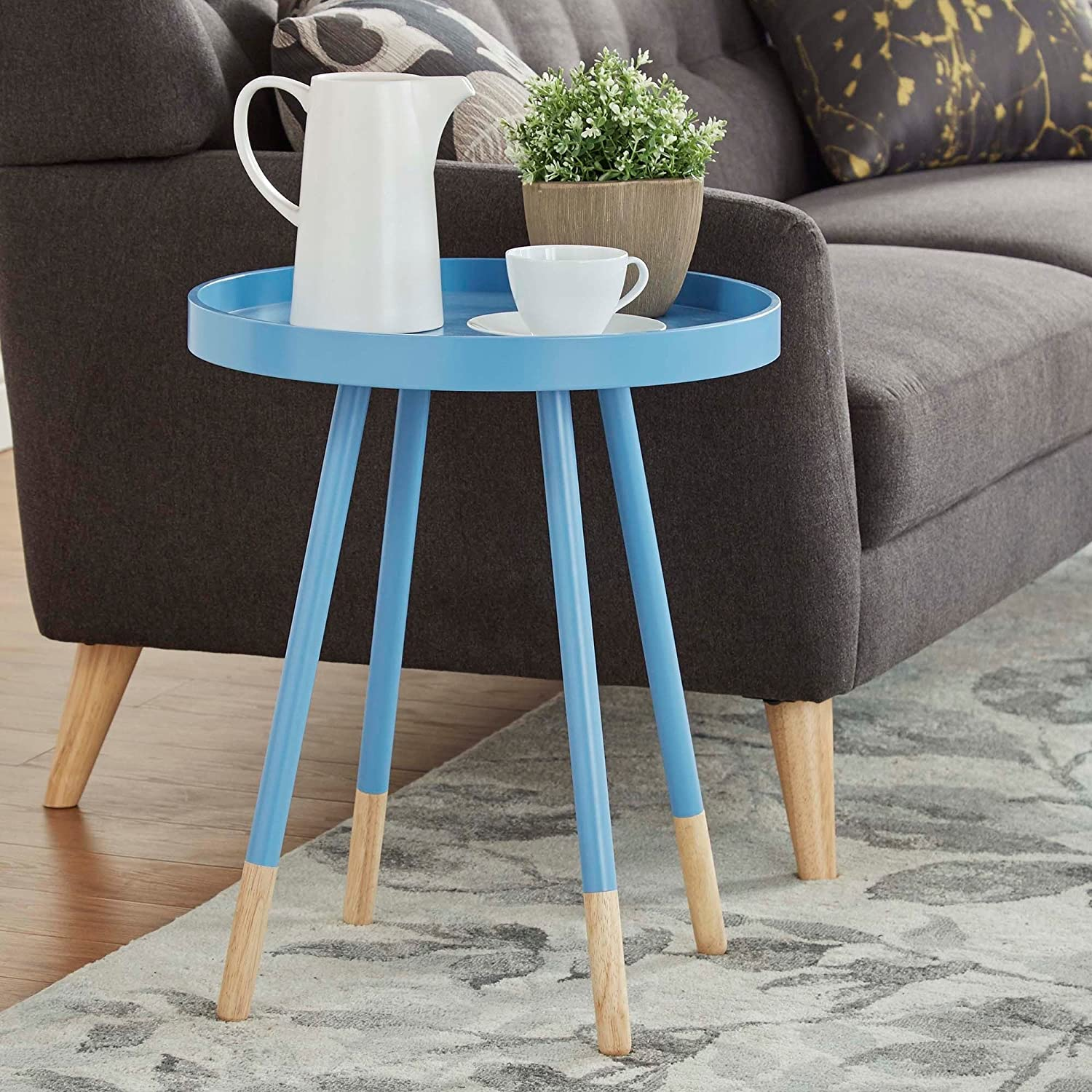 Amazon.com: Round Accent Side End Table with Tall Metal Table Legs ...