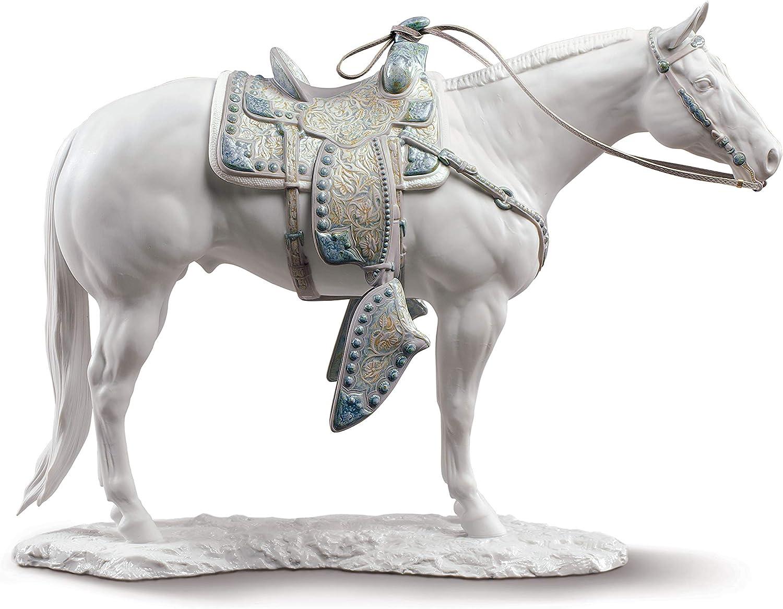LLADRÓ Escultura Caballo Quarter Horse Blanco. Caballo de Porcelana.
