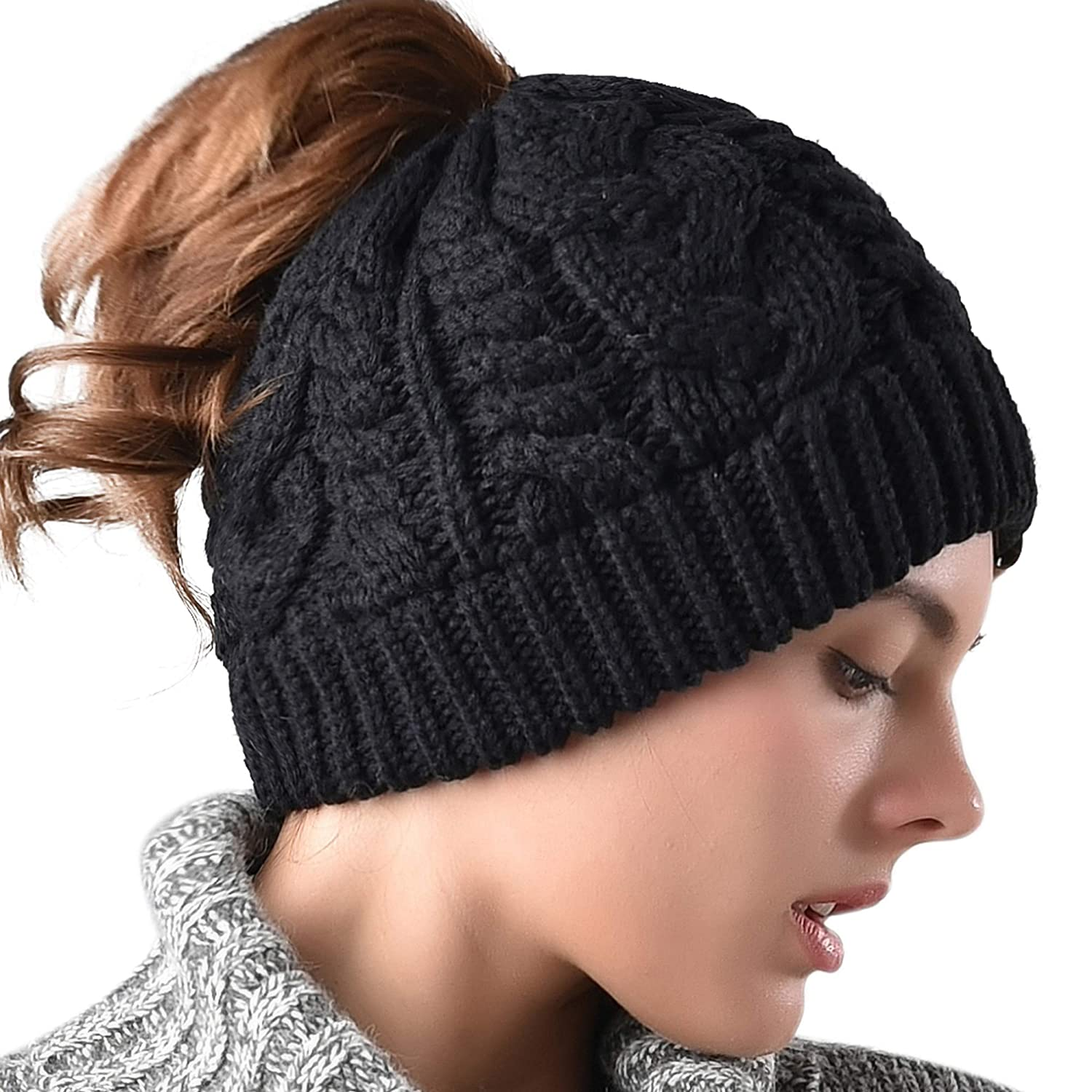 e92ba4c49f3 Women Hat Knit Skull Beanie Winter Outdoor Runner Messy Bun Ponytail Cap at  Amazon Women s Clothing store