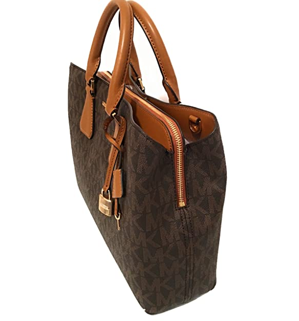 d8b1328fc823 Amazon.com: Michael Kors Camille Savannah Large Satchel Brown MK Acorn  Crossbody Bag: Shoes