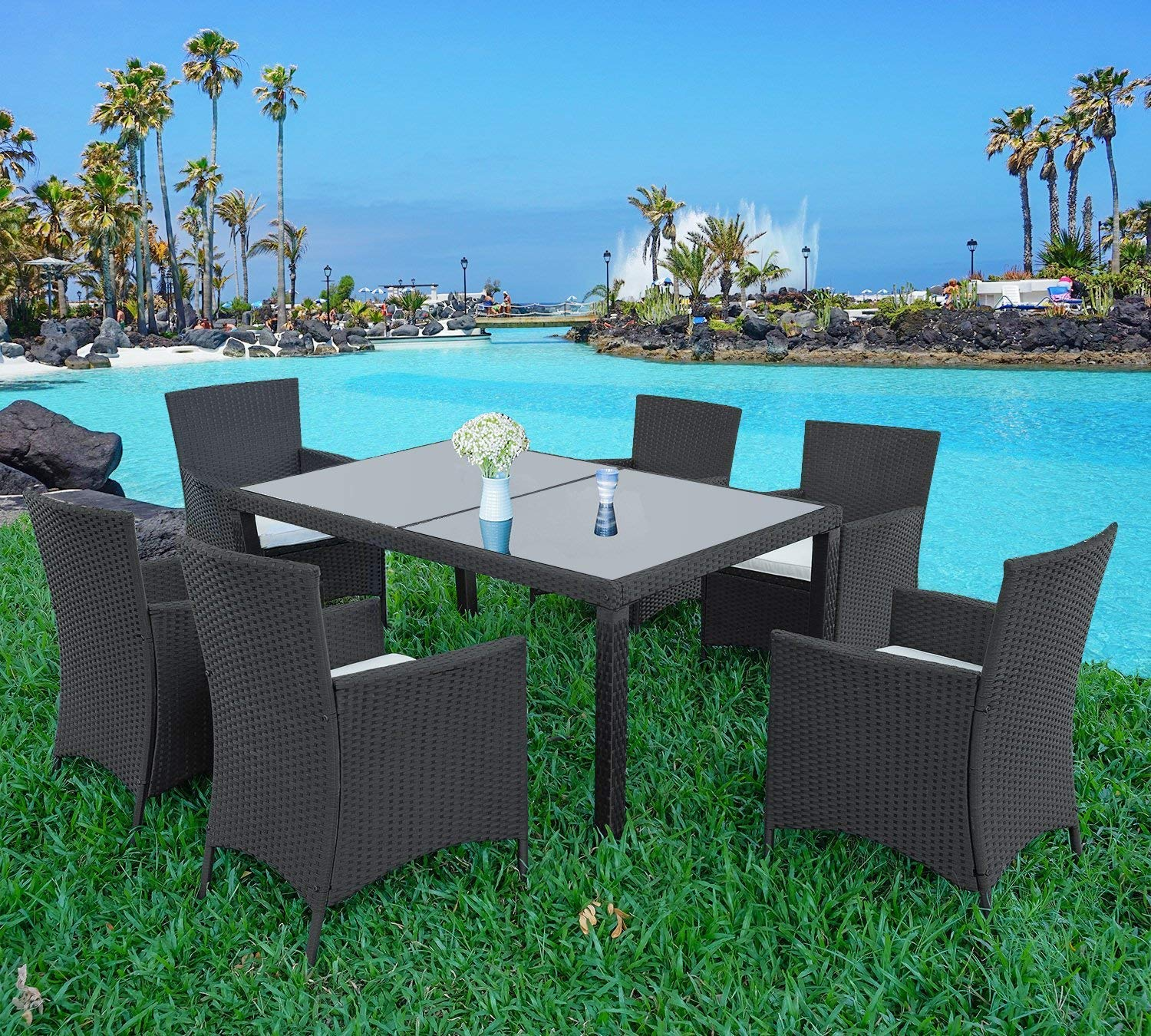 LZ LEISURE ZONE 7 Piece Patio Furniture Dining Set Outdoor Garden Wicker Rattan Dining Table Chairs Conversation Set with Cushions (Black)