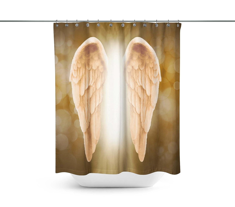 ABin Golden Angel Wings Shower Curtains,Water-Repellent /& Anti-Bacterial Waterproof Mildew-Resistant Fabric with 12 Curtain Hooks KK 20170703