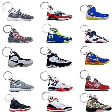 a6da0bb71825a Mini Sneaker Keychains - Rare Air Packs - Rubber/Silicone 15 Pack 2D Retro  Sneakers Basketball Shoe Keychains - Perfect Sneakerhead Gift Idea