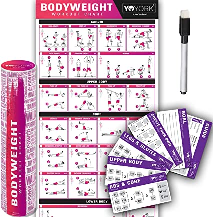 Amazon Com Yoyork Workout Posters For Body Weight Training Exercise Laminated Home Gym Workout Poster With 10 Workout Cards 17 X 45 Sports Outdoors