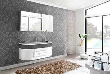 Sam Badmöbel Dali 2tlg Design Badezimmer Set Grauweiß Hochglanz