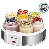Gourmia GYM1610 Auto Yogurt Maker - Includes 7 Glass 6 oz Jars and Lids - Custom Flavor & Thickness - BPA Free - Bonus Recipe Book Included