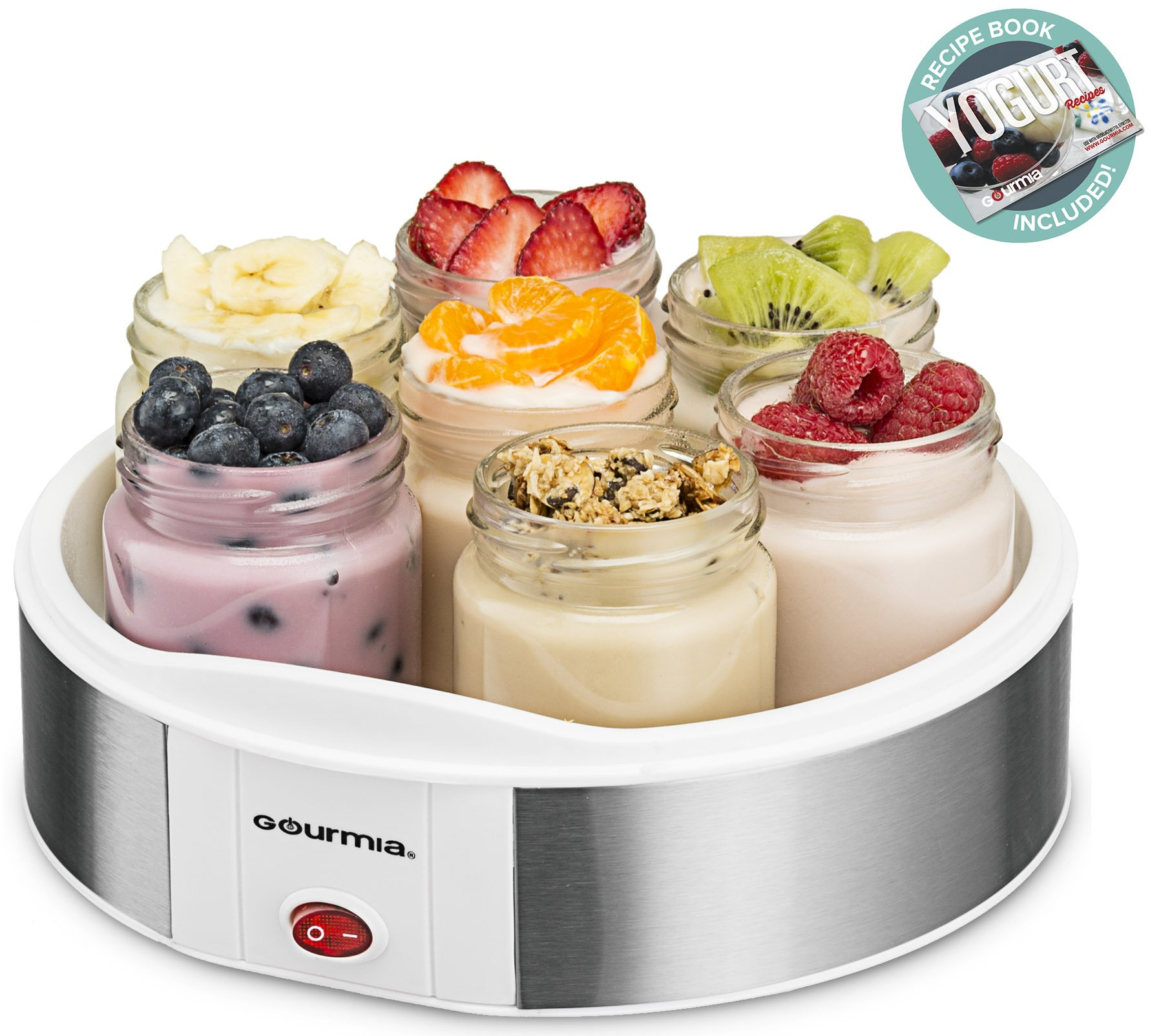Gourmia GYM1610 Auto Yogurt Maker - 7 Glass Jars - Customize Flavor & Thickness - Free Recipe Book Included