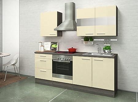 respekta instalación de Cocina 210 cm Roble Gris Blanco Brillante de Vainilla y vitrocéramique: Amazon.es: Hogar