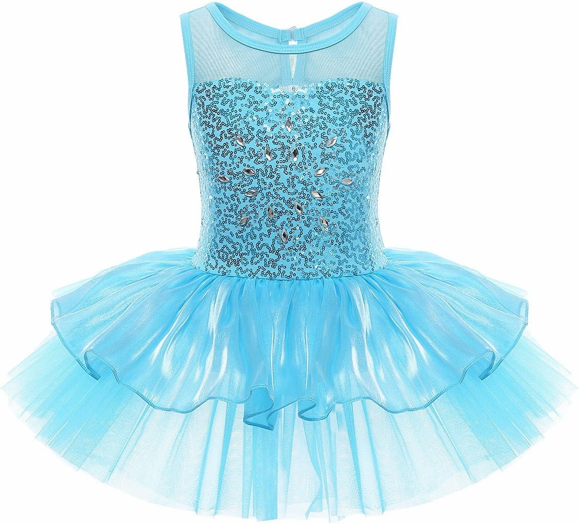Agoky Kids Girls Shiny Mermaid Scales Printed Ballet Dance Dress Leotard Dancewear