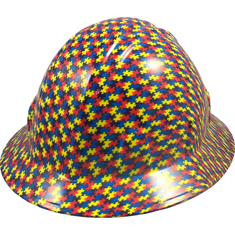 Autism Puzzle Hydro Dipped Hard Hats Full Brim Design