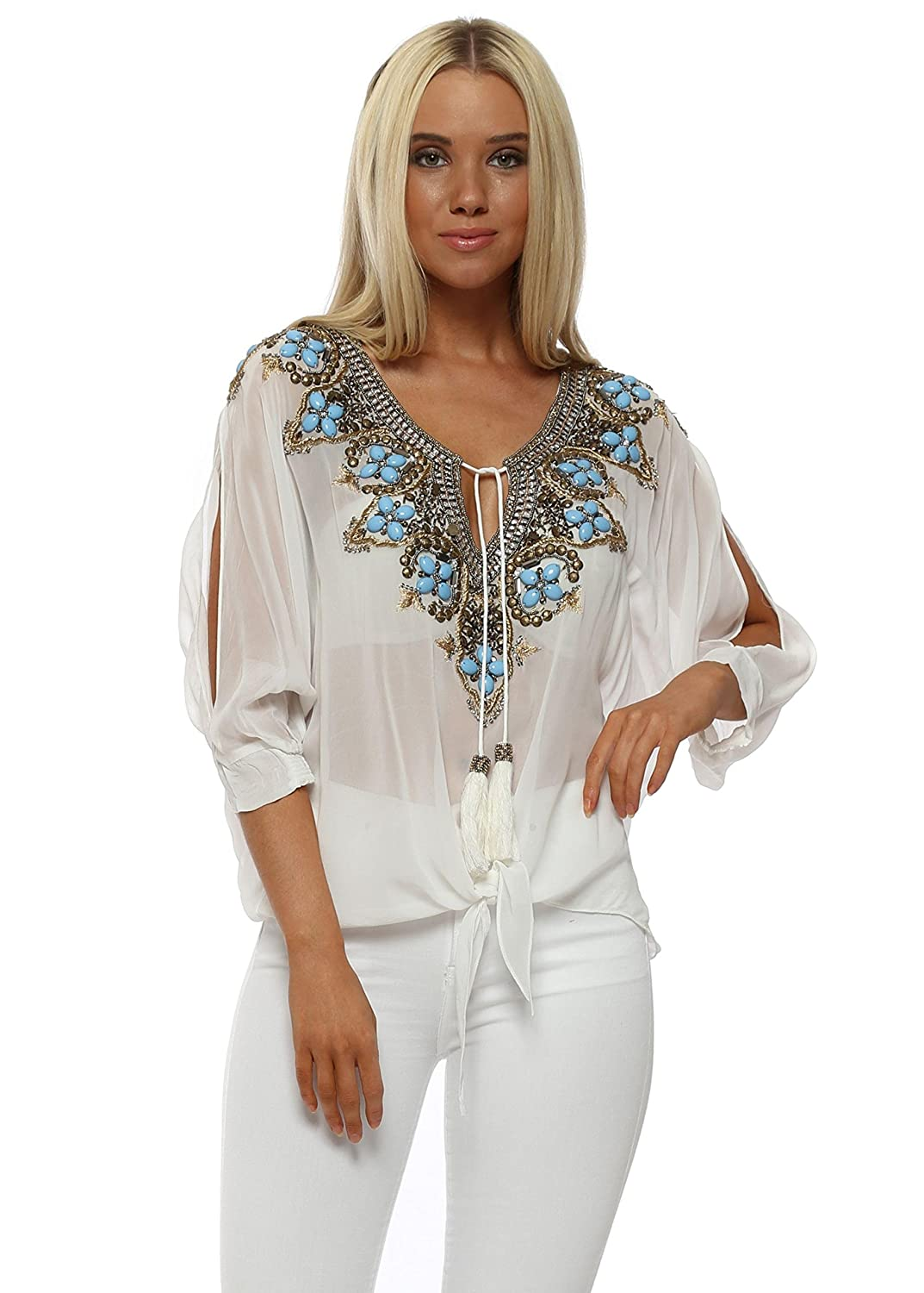 73337636d46 Laurie   Joe Biaritz White Jewelled Tie Bottom Top  Amazon.co.uk  Clothing