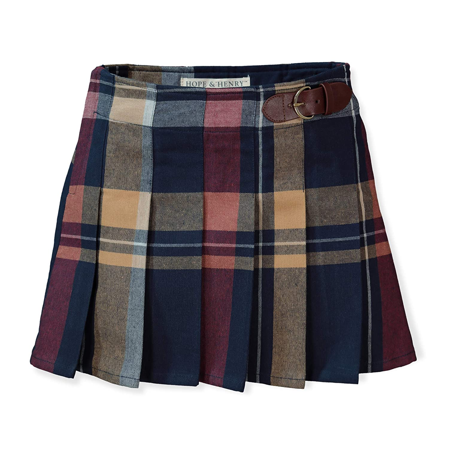 Hope /& Henry Girls Pleated Skirt with Buckle Detail