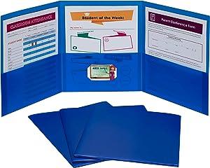 C-Line 3-Pocket Tri-Fold Heavyweight Poly Portfolios, Blue, Box of 24 (33945-24)