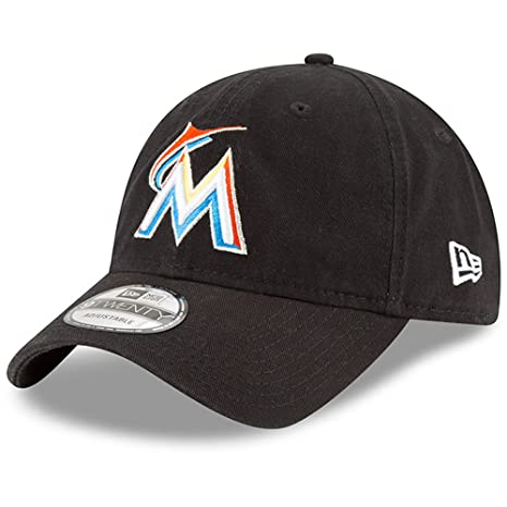 san francisco 87d1e abaa2 Image Unavailable. Image not available for. Color  Miami Marlins New Era  Home Replica Core Classic 9TWENTY Adjustable Hat Black