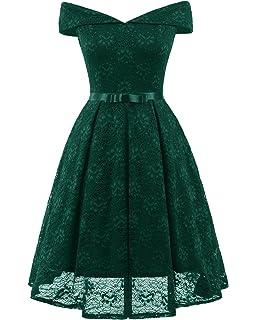 Dreamskull Damen Frauen Abendkleider Kleid Spitze Spiztenkleid Rockabilly  Faltenrock Schulterfrei Elegant A Linie Knielang für Hochzeit b4eb91294c