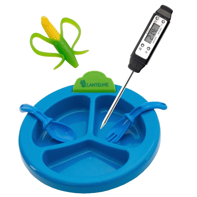 Digital Babyflaschen - Babyteller Thermometer, Beiß ring und Besteck Set 5598 blau Lantelme