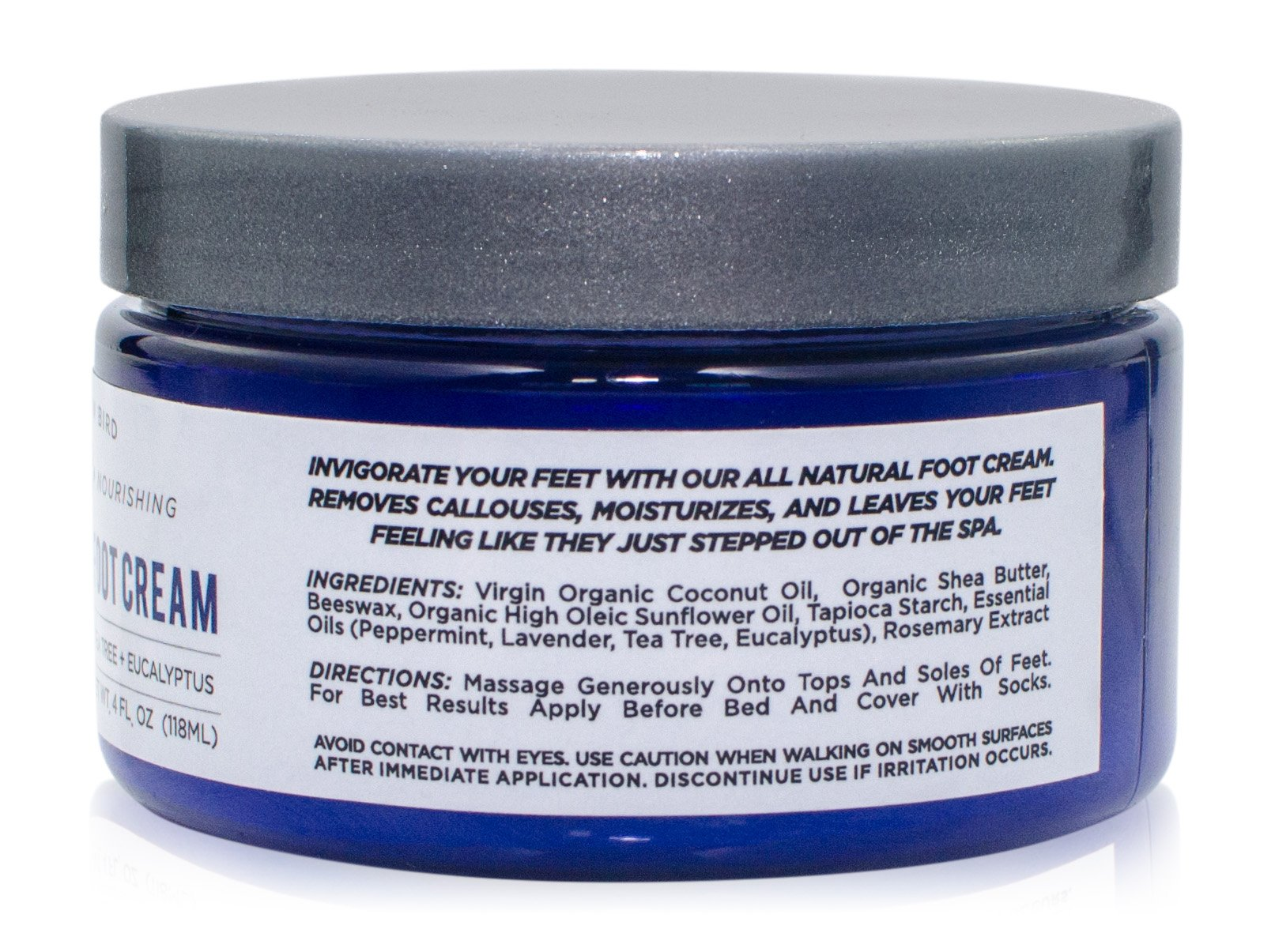 All Natural Antifungal Foot Cream. Moisturizing Organic Relief for Dry Cracked Heels, Callused Feet, Athletes Foot. Best Therapeutic Grade Essential Oils: Peppermint, Lavender, Eucalyptus, Tea Tree. by The Yellow Bird (Image #5)