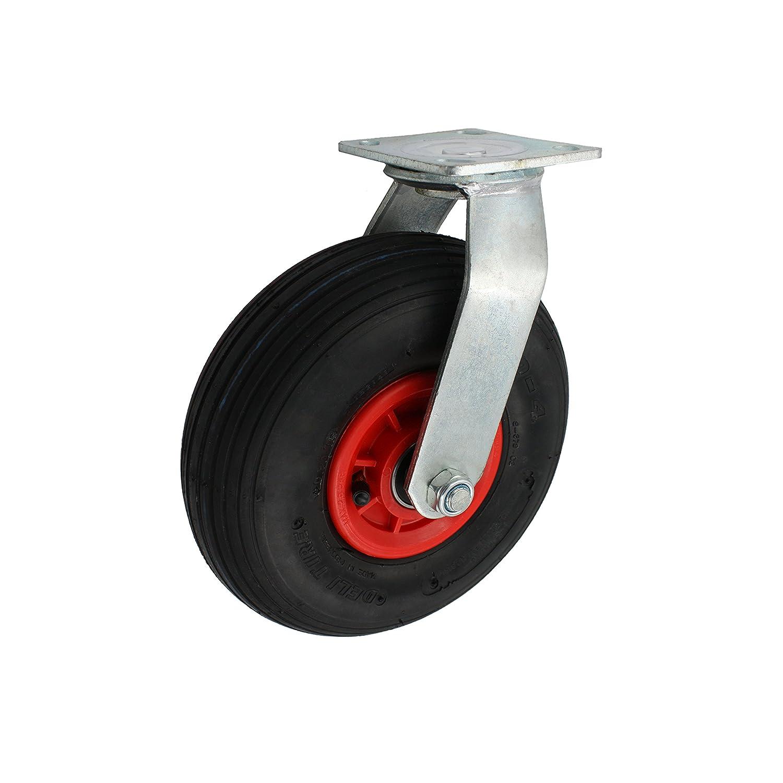 260 mm Luftbereifte Transportrolle als Bockrolle Kugelgelagert Tragf/ähigkeit 200 kg