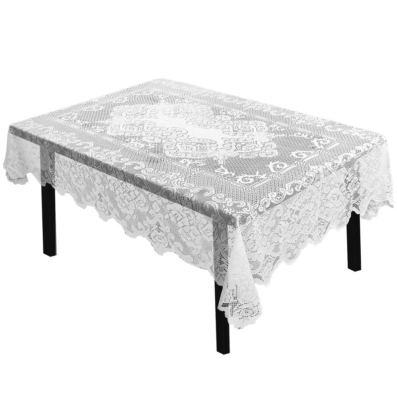 Juvale Lace Tablecloth - Rectangular Tablecloth Elegant Floral Patterns - Perfect Birthday Parties, Wedding Receptions, Baby Showers, Dining Room Tables, White, 54 x 72 inches