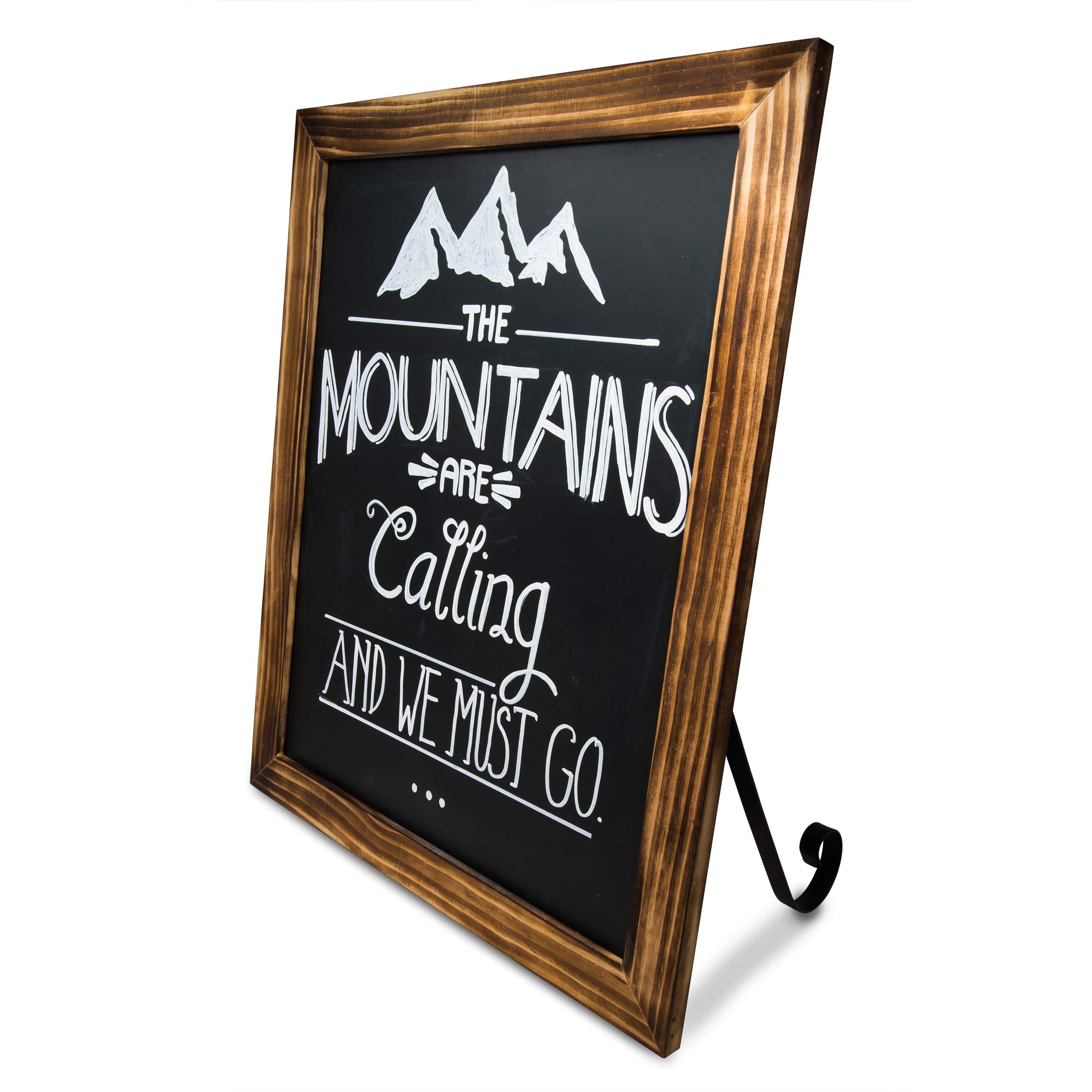 TenXVI Designs 18''x22'' Freestanding and Hanging Vertical or Horizontal Magnetic Chalkboard Sign with Removable Legs for Weddings, Restaurants and Home Decor - Torched Wood by TenXVI Designs