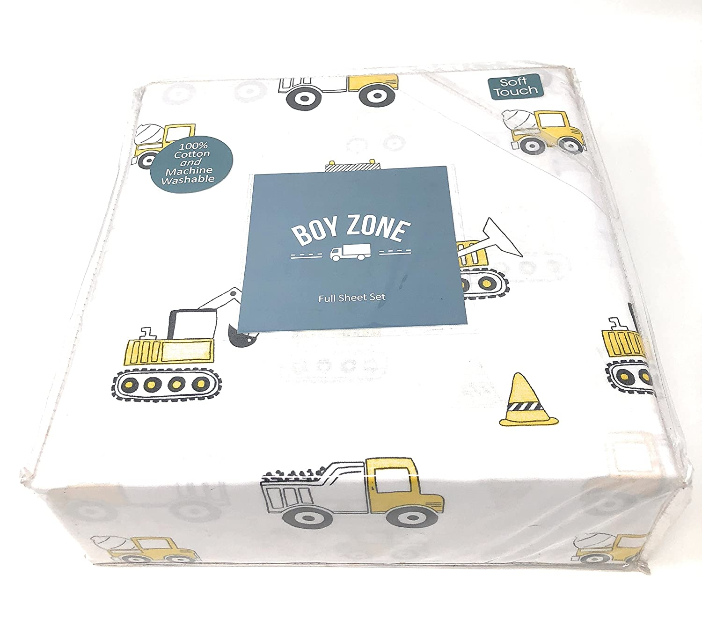 Boy Zone FULL Sheet Set - 100% cotton - construction vehicles FULL Sheet Set (trucks, front loaders, dump trucks) | Mustard Yellow/White