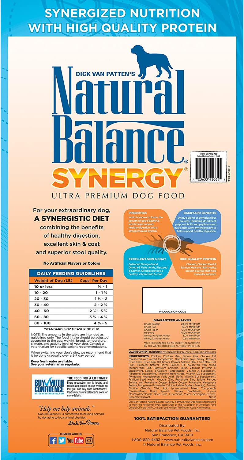 Natural Balance Synergy Ultra Premium Dry Dog Food, Chicken, Chicken Meal Salmon Meal, with Prebiotics