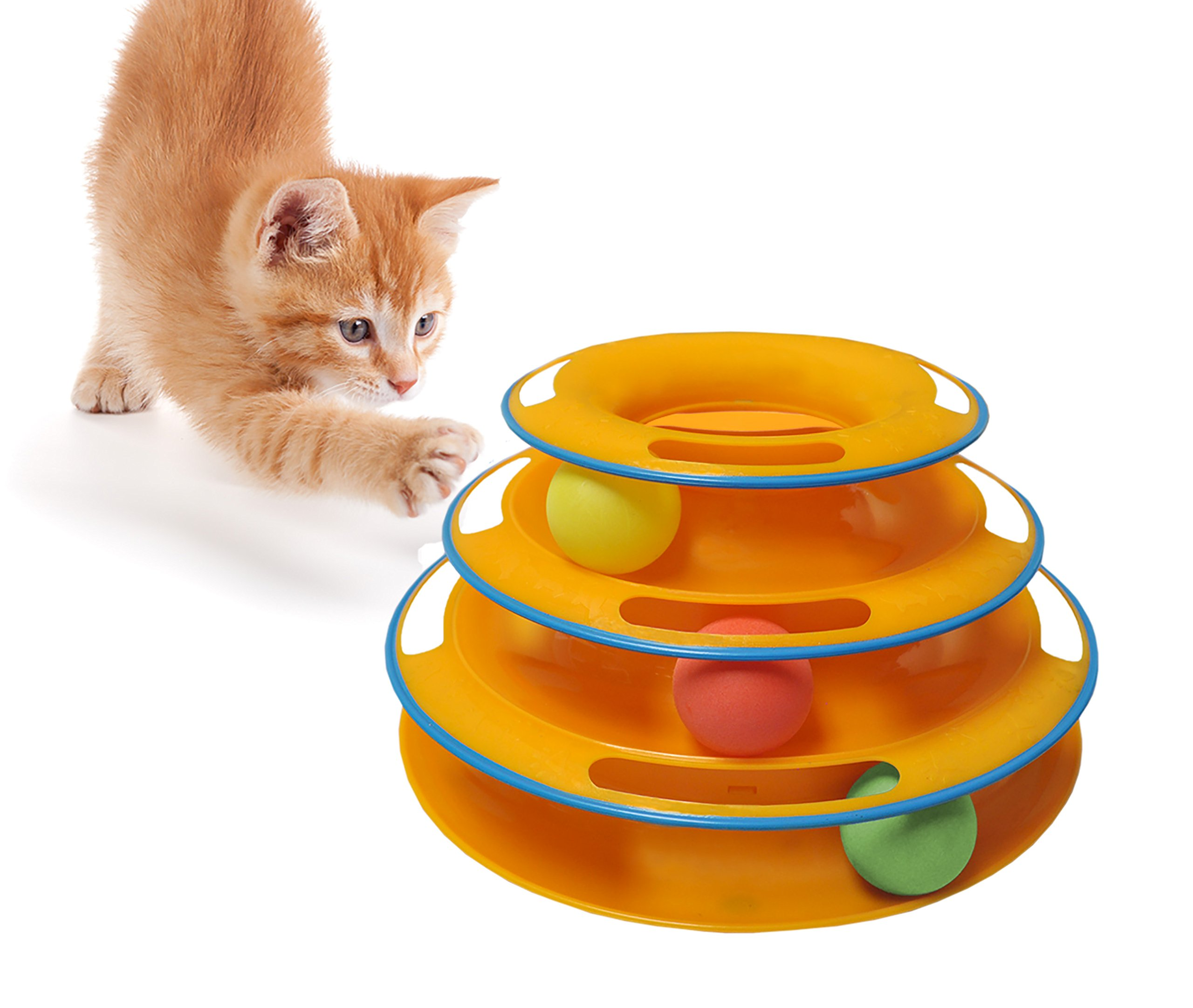 Purrfect Feline Titan's Tower - New Safer Bar Design, Interactive Cat Ball Toy, Exerciser Game, Teaser, Anti-Slip, Active Healthy Lifestyle, Suitable for Multiple Cats (Orange)