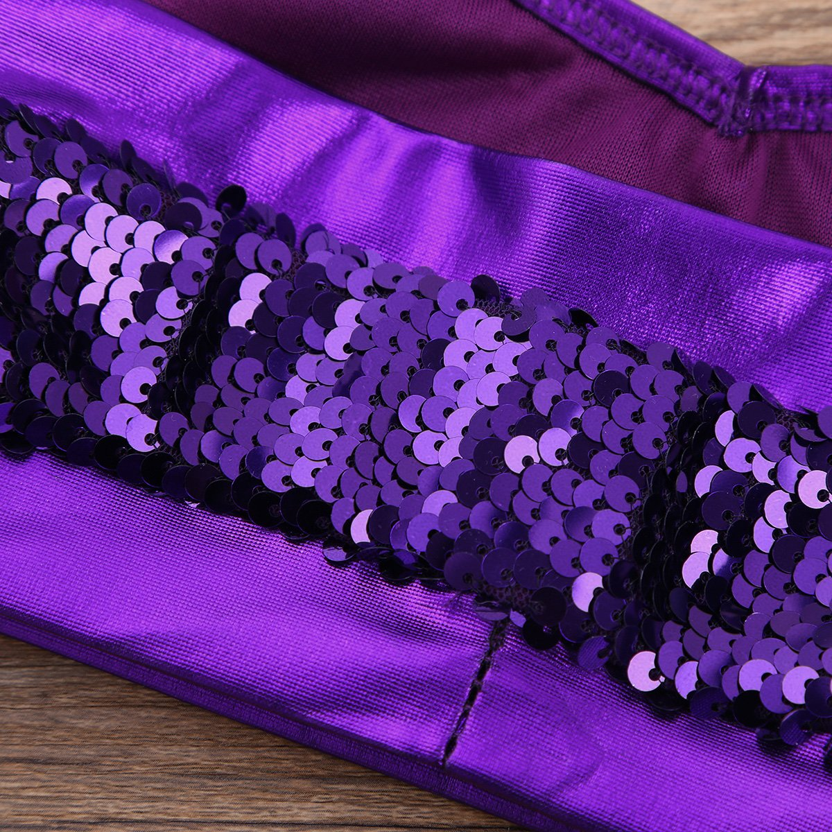 MSemis Kids Girls Glittery Sequins Halter Neck Crop Top Performance Ballet Dance Dancewear Athletic Sports Bra