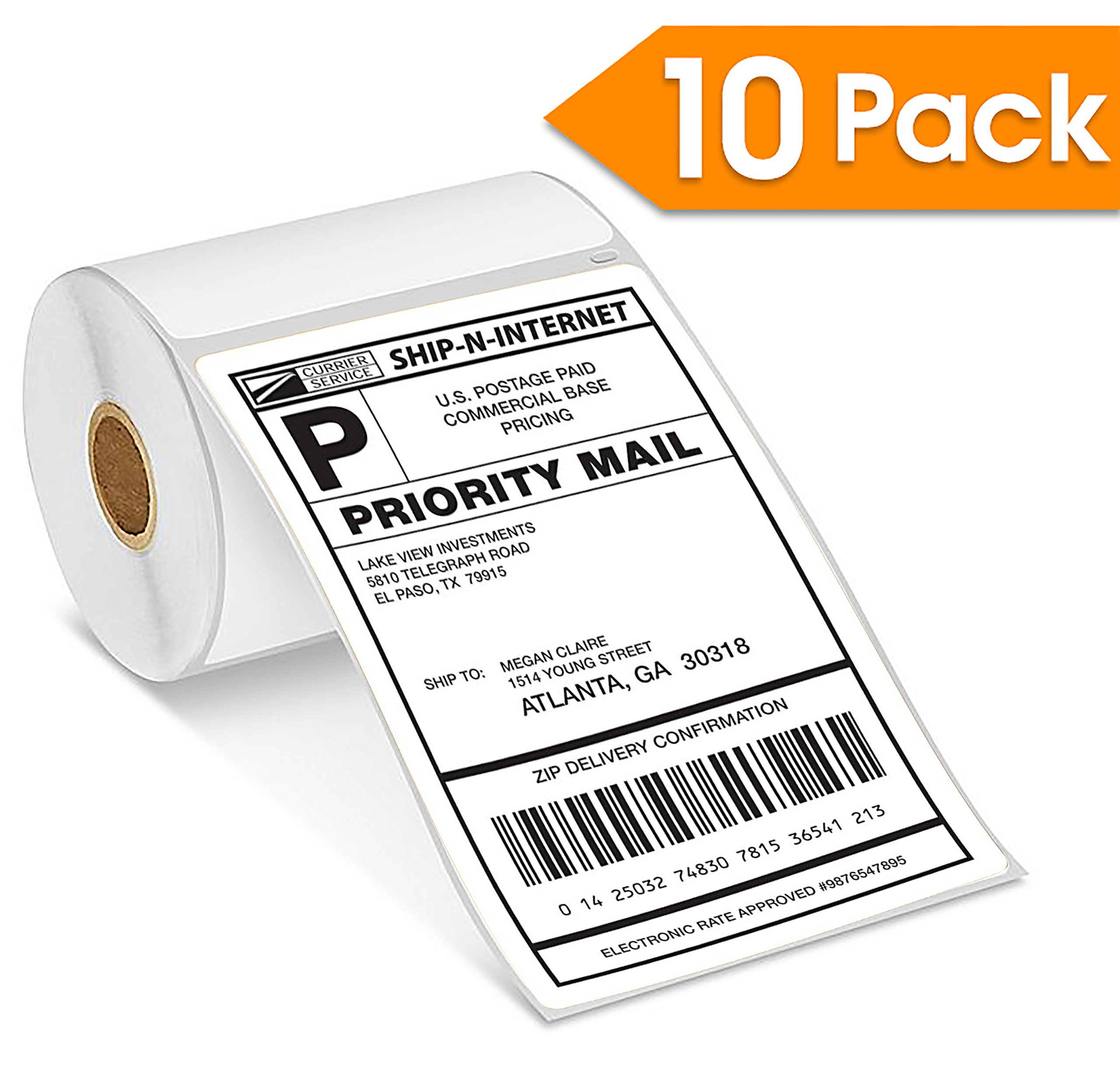 """10 Rolls - DYMO 1744907 Compatible Extra Large Shipping Labels (4'' X 6"""") Compatible with DYMO Labelwriter 4XL ONLY"""