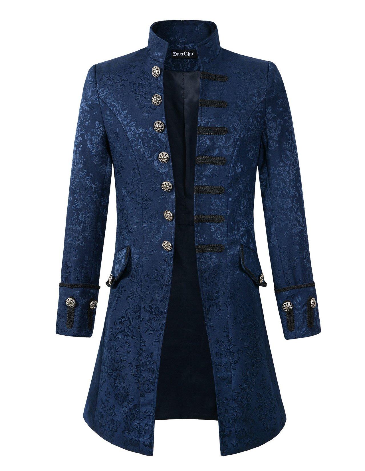 DarcChic Mens Velvet Goth Steampunk Victorian Frock Coat (XXL, Blue Brocade)