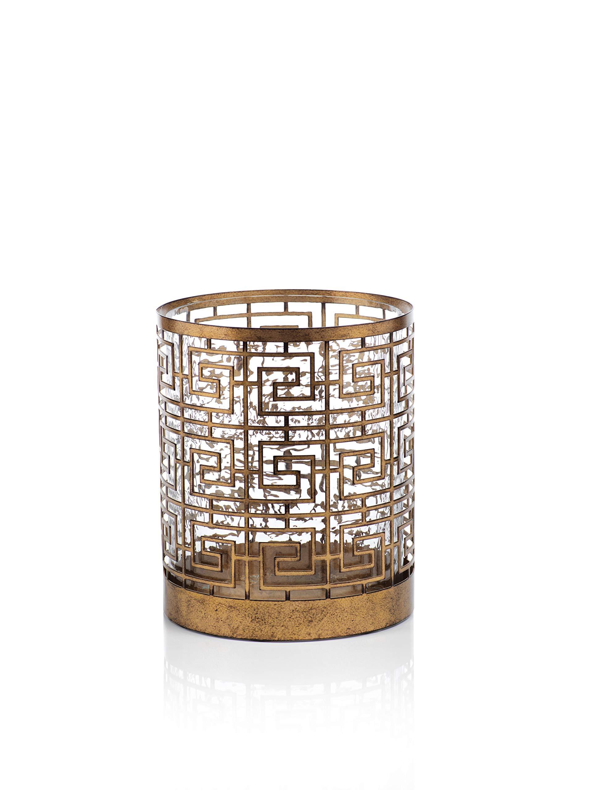 Zodax Mondre 8.5'' Diameter Metal Candle Holder Hurricane, Wide, Bronze