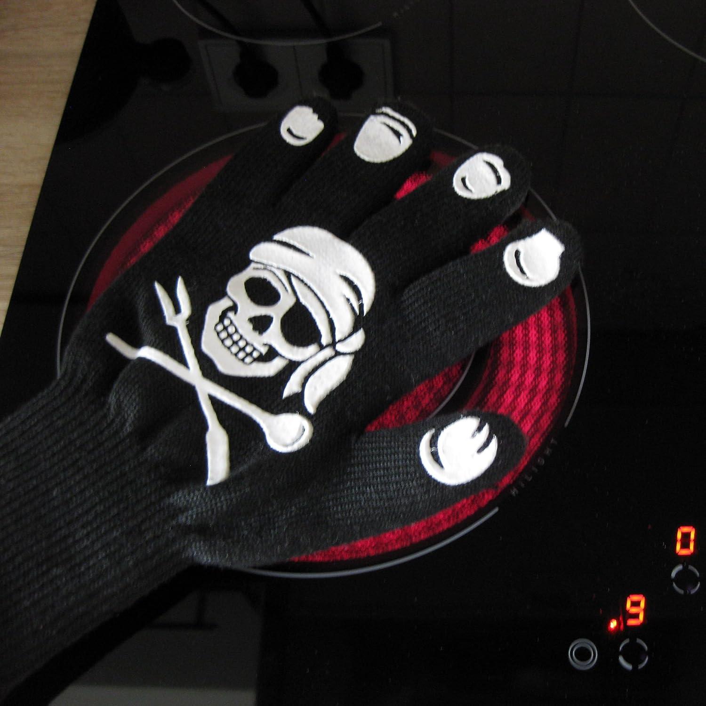 Geschenkbox schwarz inkl rutschfeste Silikon-Beschichtung Delindo Lifestyle/® Ofenhandschuhe Grillhandschuhe PIRATE SKULL 30x15 cm lang im 2er-Set bis 500/°C hitzebest/ändig