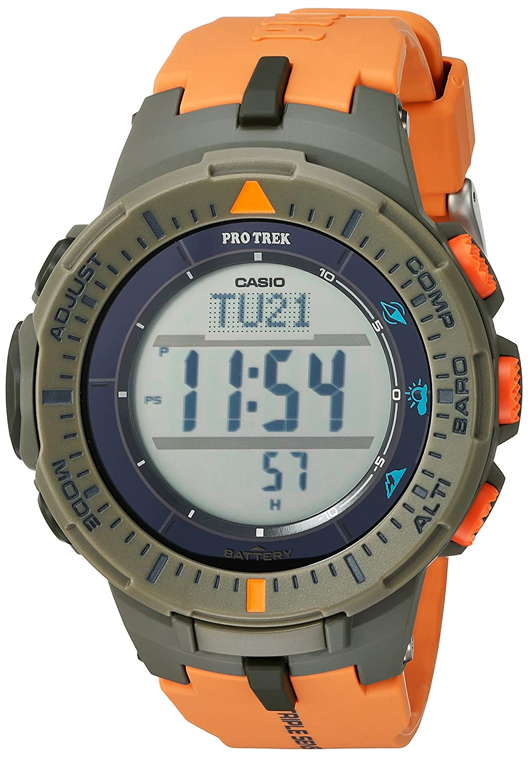Casio Mens ProTrek Tough Solar Power Triple Sensor Quartz Resin Watch, Color:Orange (Model: PRG-300-4CR)