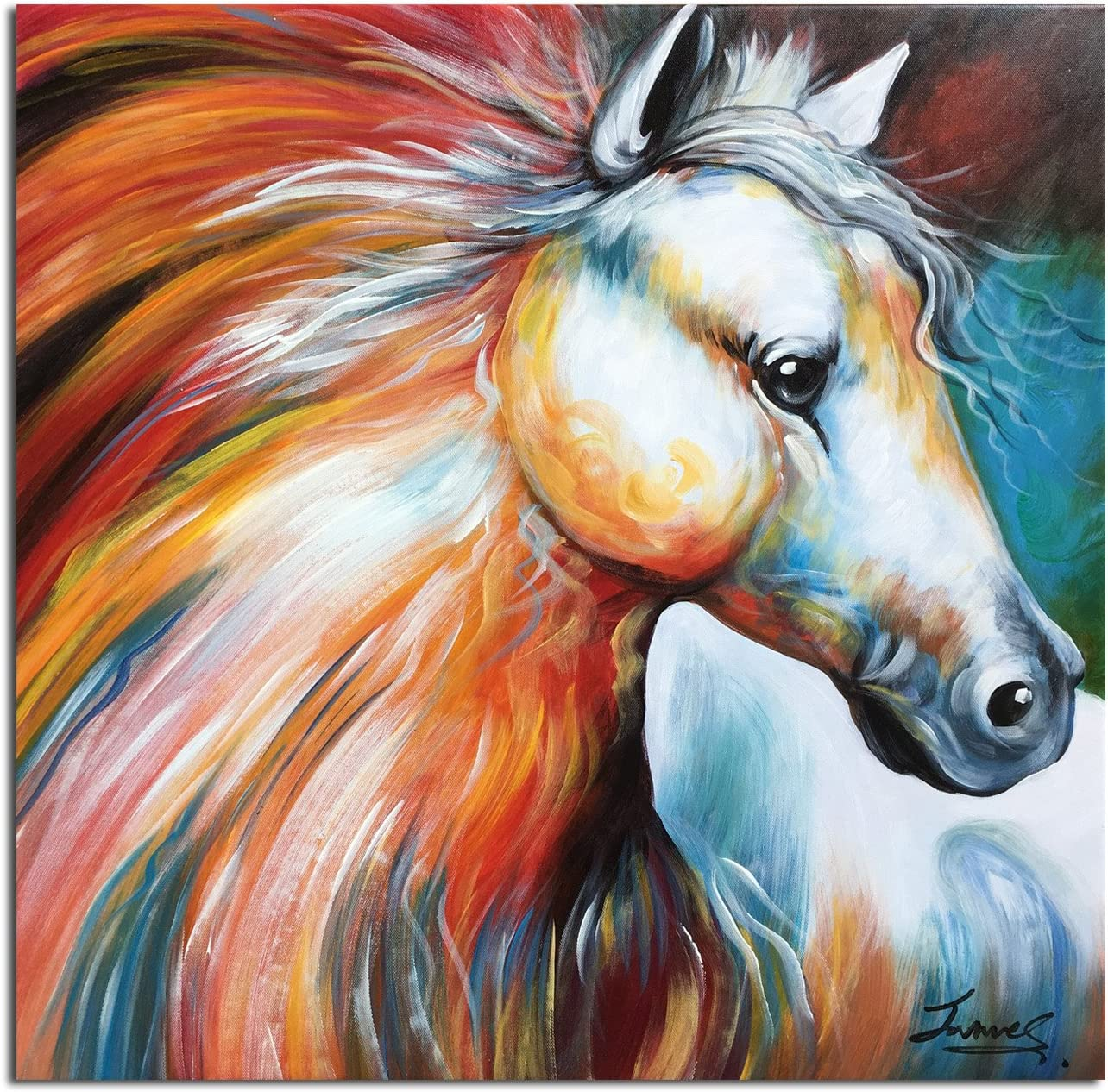 Print of original oil painting art contemporary abstract HORSE blue red green