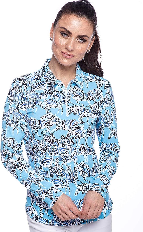 41396 Sky Blue IBKUL Womens Sun Protective UPF 50 Cooling Long Sleeve Promenade Polo Gino Print
