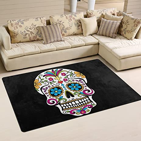 Fantastic Floral Sugar Skulls Day Of The Dead Halloween Decorations Area  Rug Pad Non Slip