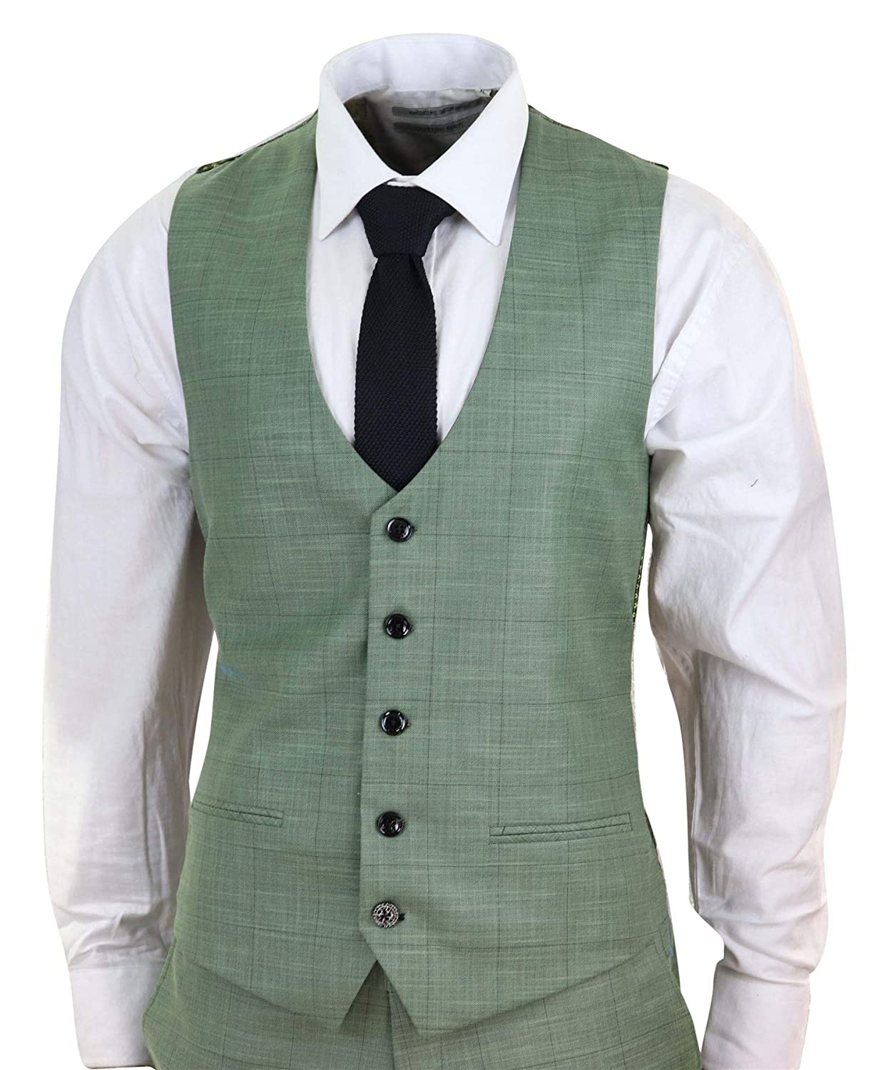 Marc Darcy Mens Mint Green Black Check 3 Piece Tailored Fit ...