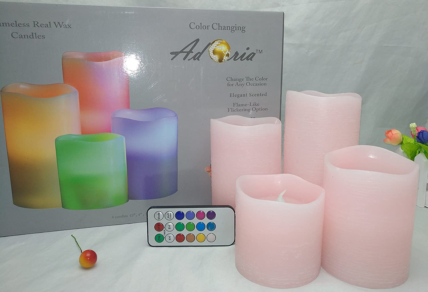 tall 3,4,5,6inch tall 3 4 5 179C Adoria Pink Led Candles-Auto Cycle 24-hour Timer Multi Function Remote control Real Wax Rustic-Rose Scented Set of 4