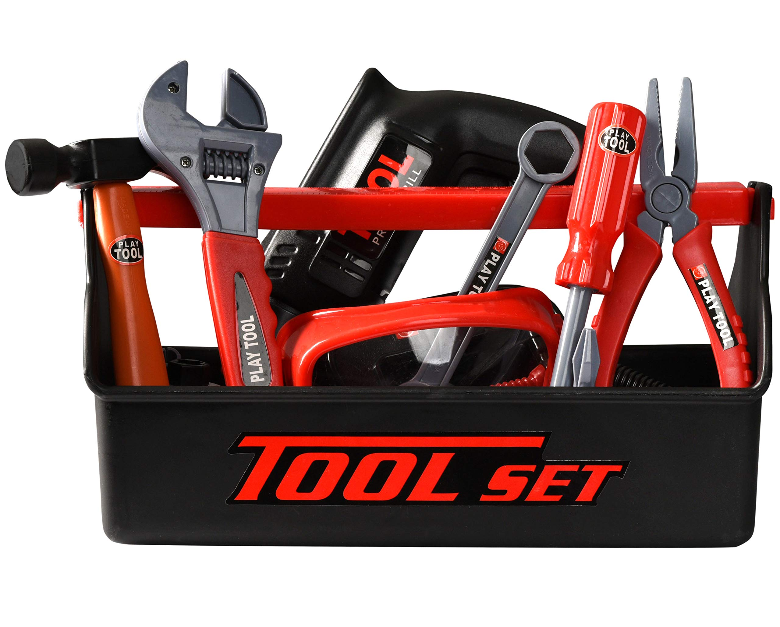 Playkidz Tool Box for Kids 22-Piece Boys & Girls Construction Toy Playset w/Carry Chest, Working Push Button Power Drill, Hammer, Screwdriver, Wrench, Pliers, Saw & Other Realistic Tools Ages 3+ by Playkidz