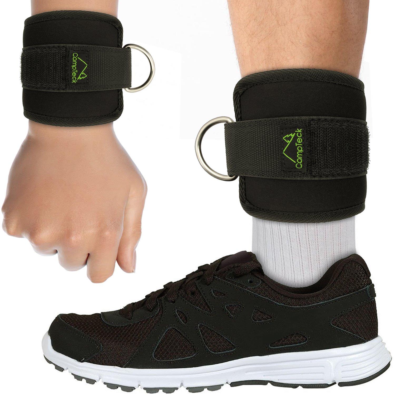 Fitnessstudio Bein- /& Bauchmuskeltraining Kabelzug maschine Schwarz CampTeck U6831 D-Ring Wrist Wraps Fu/ßschlaufen Neopren verstellbare Ankle Straps f/ür Fitness Training 1 Paar Pobacken