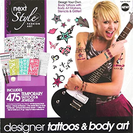 Amazon Com Next Style Fashion Art Designer Tattoos Body Art Kit Includes 475 Temporary Body Tattoos Jewels Stencils Markers Toys Games