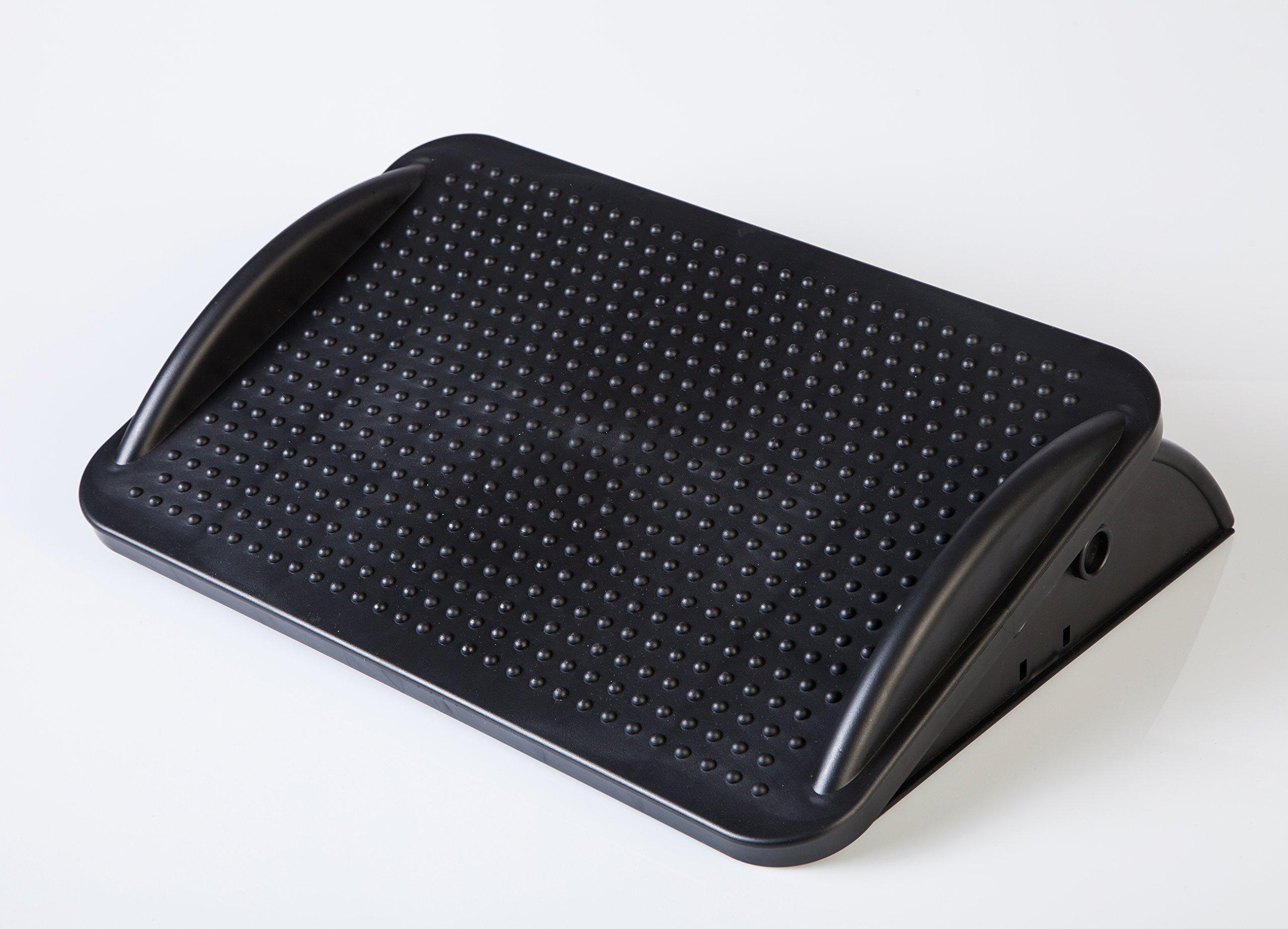 BNC Premium Ergonomic Adjustable Angle Foot Rest F6017-42.2cm X 29.5cm X 10cm - Black Color