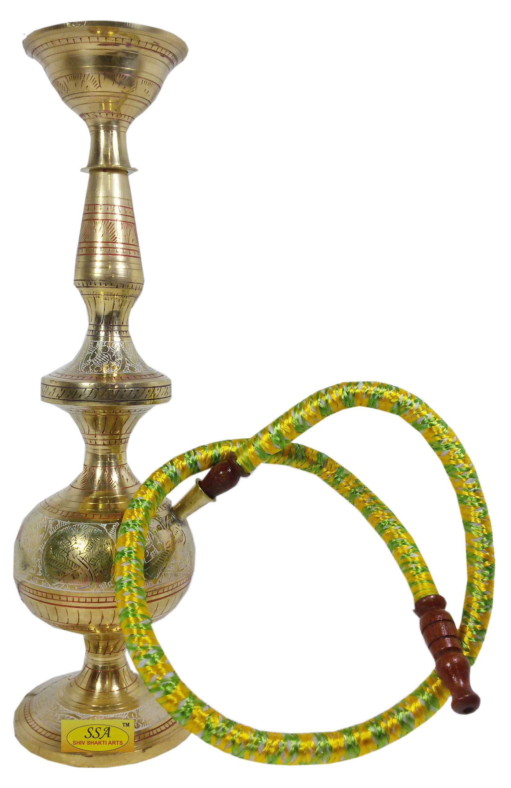 SHIV SHAKTI ARTS Handmade Pure Brass Leaf And Embossed Designed Hookah Height 14 Inch Or 36 Cm