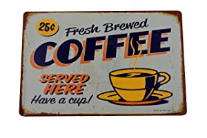 H&K Fresh Brewed Coffee Retro Metal Tin Sign Posters Kitchen Café Diner Restaurant Wall Decor 12X8-Inch