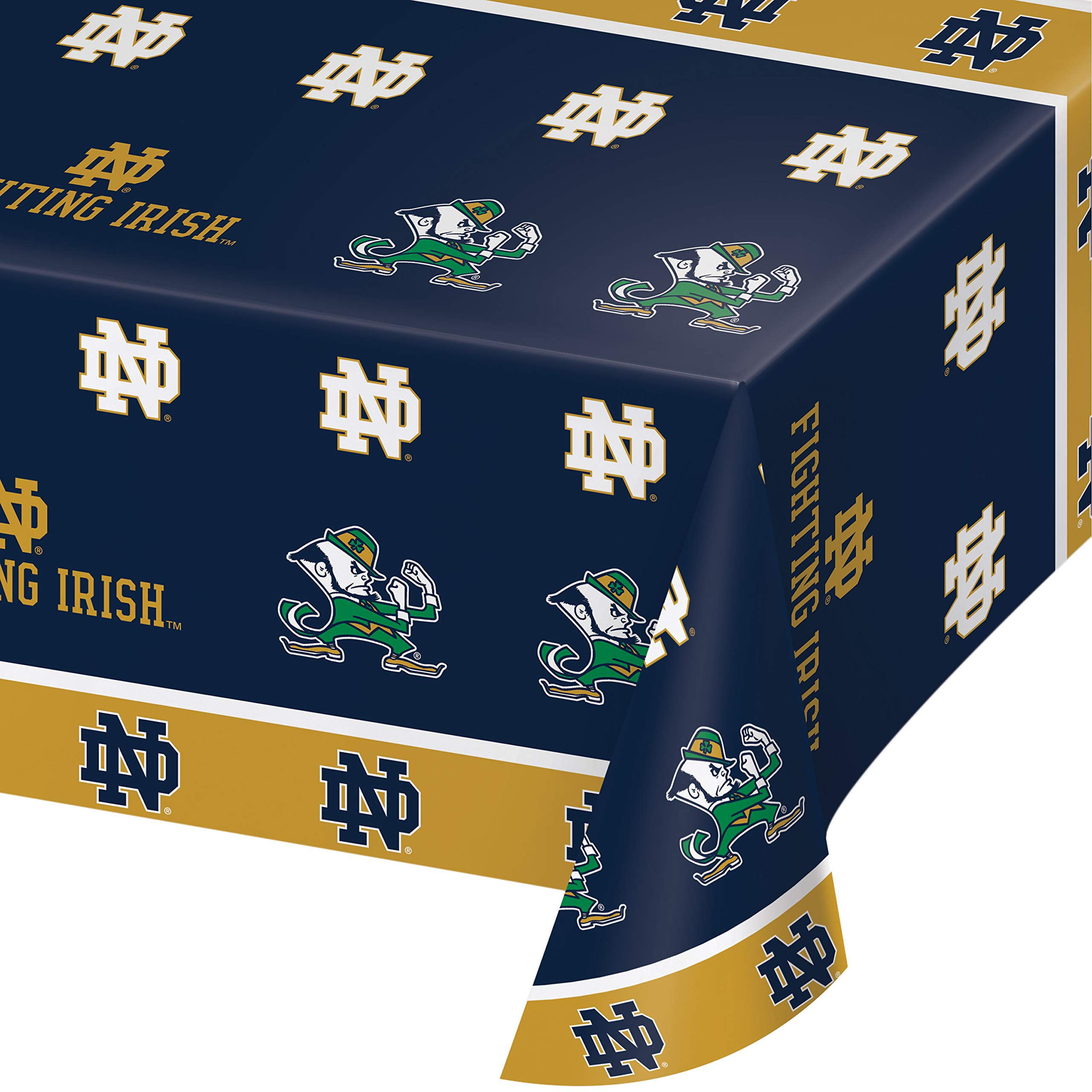 Creative Converting 333085case University of Notre Dame Tablecloths, 54'' 108'', Blue