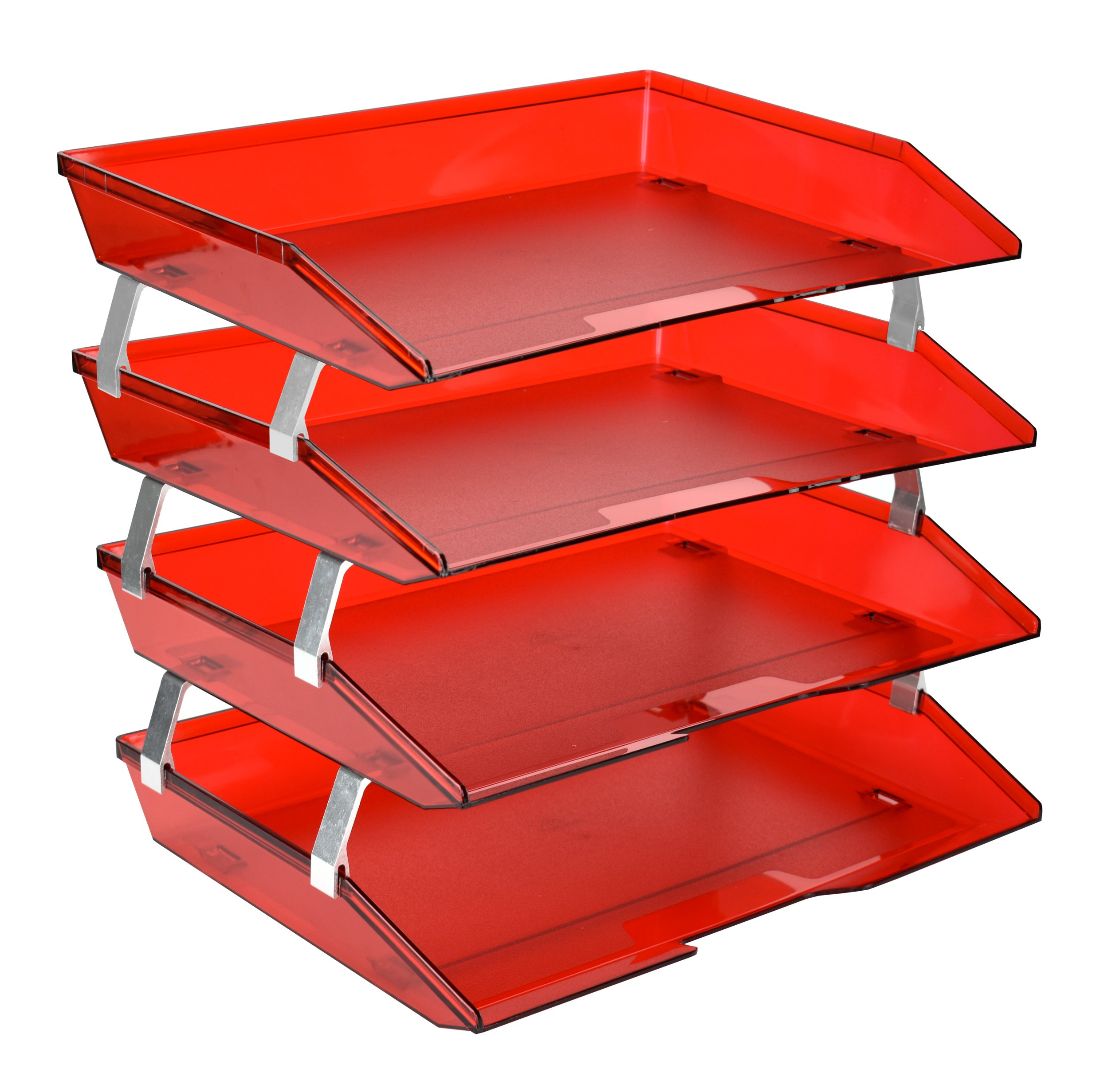 Acrimet Facility Letter Tray 4 Tiers (Clear Red Color)