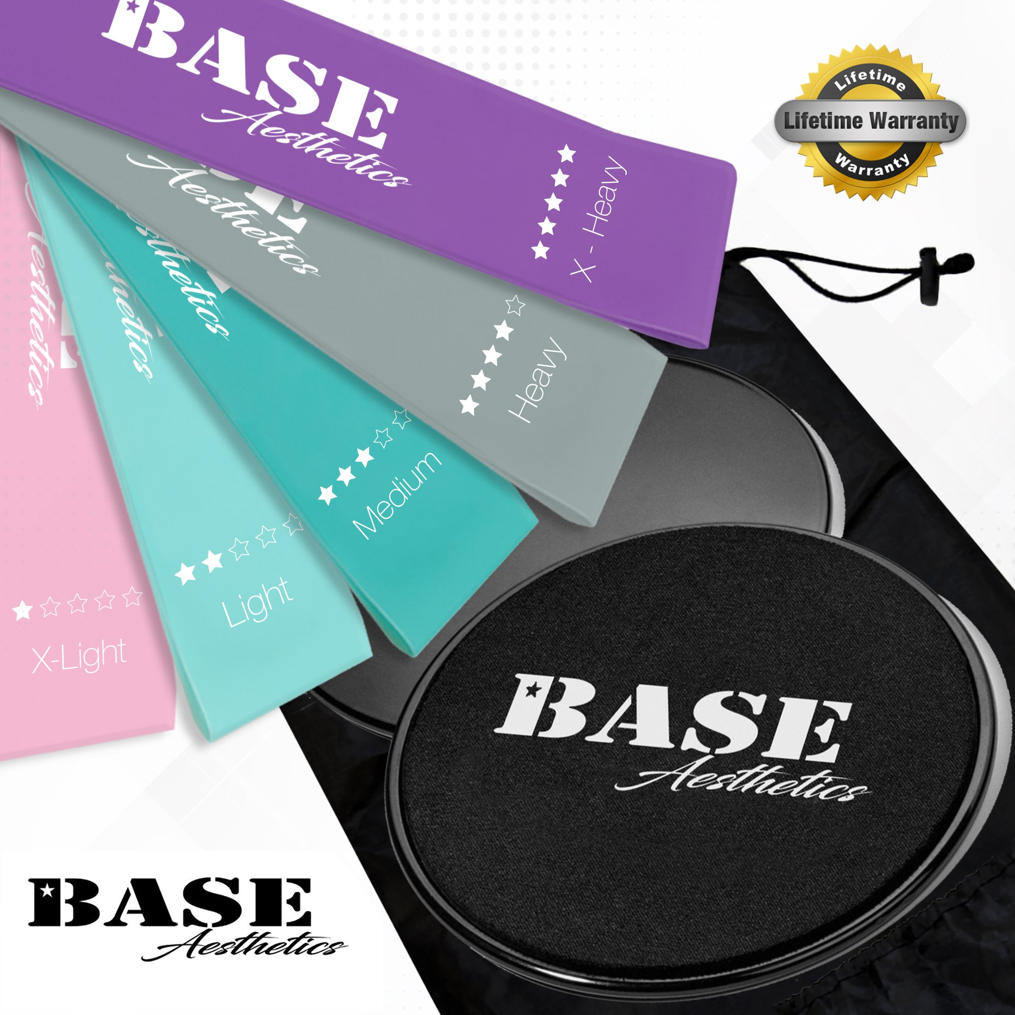 Base Aesthetics Dual Sided Gilding Discs Core Sliders (Set of 2) and Fitness Resistance Loop Bands (Set of 5) for Ultimate, Low Impact Exercises to Strengthen Abdominal, Glutes, Legs, and Stability
