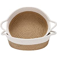 Sea Team 2-Pack Cotton Rope Baskets, 10 x 3 Inches Small Woven Storage Basket, Fabric Tray, Bowl, Round Open Dish for…