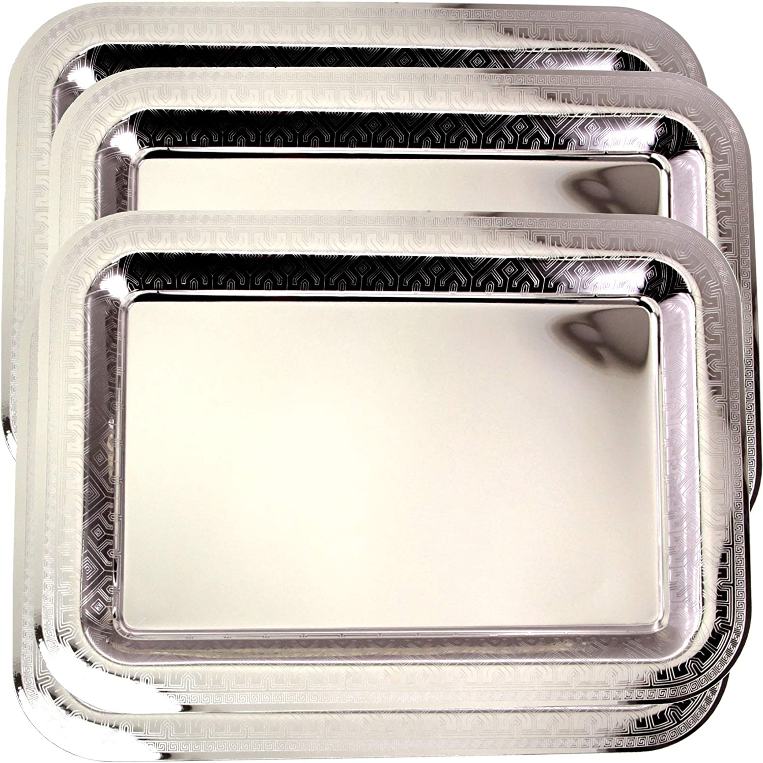 Maro Megastore (Pack of 4) 17 Inch x 12.2 Inch Oblong Chrome Plated Mirror Serving Tray Stylish Design Floral Engraved Edge Decorative Party Birthday Wedding Dessert Buffet Wine Platter Plate CC-812