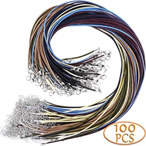 Necklace Cord, Selizo 100pcs Necklace String, Waxed Cotton Necklace Cord with Clasp Bulk for Jewelry Bracelet Making, Beads, Pendants, Charms